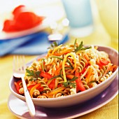 three-colored fusilli with vegetables (subject: pasta)