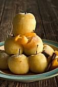 pyramid of apples flambéed with caramel