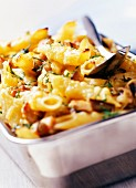 penne pasta bake with aubergine and chicken (subject: bakes)