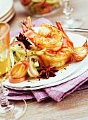 Crunchy fennel and mediterranean prawns with star anise