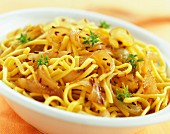 Spatzle fried noodles with onion and coriander