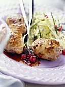 Caramelized quail with redcurrants