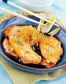 salmon escalope with soy beans and fried ginger
