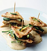 Veal piccata with courgettes and mascarpone cream