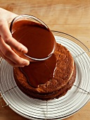 Spiced chocolate truffle cake with chocolate sauce