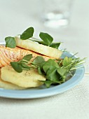 Roast salmon with celery
