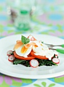 Spinach and radish salad with sliced egg