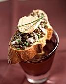 Foie gras and lentil open sandwich