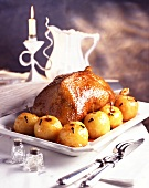 roast goose with apple (topic: christmas parties)