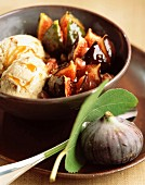 Roasted figs in caramel sauce