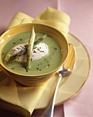 Creamed asparagus soup with dumplings and fromage frais