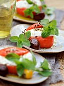 Tomatoes stuffed with mozzarella