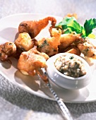 Mussels in beer fritters