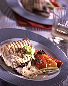 Roast bass with tapenade and soft pepper