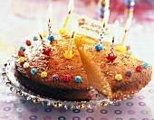 Lemon sponge cake with candles