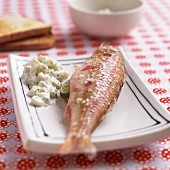 Red mullet with cucumber and yoghurt sauce