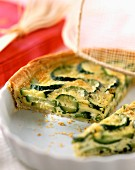 Courgette and basil tart