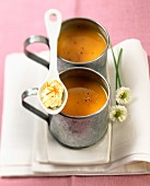 Carrot soup and orange butter