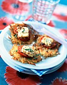 Potato cakes with tomato and goat's cheese