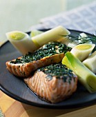Pieces of salmon with herbs