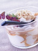 Fromage frais with rhubarb