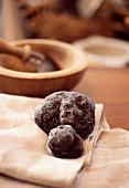 Black truffle on cloth