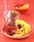 Carpaccio of pineapple and chocolate ice cream