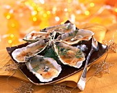 Hot oysters in shells