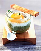 Coddled egg with green pepper