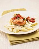 Sliced salmon in vinegar