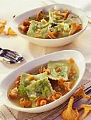 Soup with Chanterelle-stuffed green ravioli