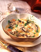 Oyster soup with vegetables