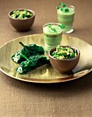 Bean and peanut salad, cucumber and avocado soup, feta-stuffed spinach