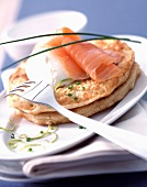 Blinis with smoked salmon and cream