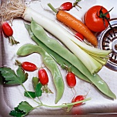 Fresh vegetables in sink