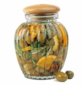 Olives marinated in oil with orange
