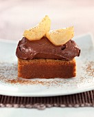 gingerbread with chocolate mousse and pears