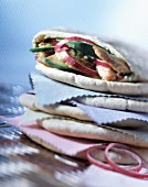 Pitta bread stuffed with chicken and avocado