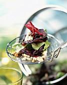 Beetroot, lettuce and Roquefort salad