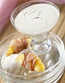 Coconut milk, pinapple and bacon appetizers