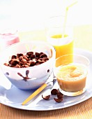 Breakfast with cereal and orange juice