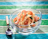 Pasta twist and prawn salad