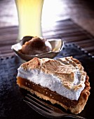 Warm meringue beer tart and stout sorbet