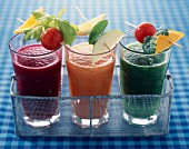 Glasses of fruit and vegatable smoothies