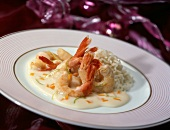 Shrimps in cream sauce with rice