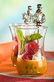 Raspberries with passionfruit juice