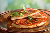fine tomato pie with red mullet fillets