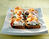 Fromage frais and bayonne ham crostinis