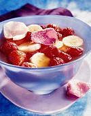 Summer fruit, banana and rose petal soup