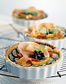 Summer vegetable and Bayonne ham individual tarts